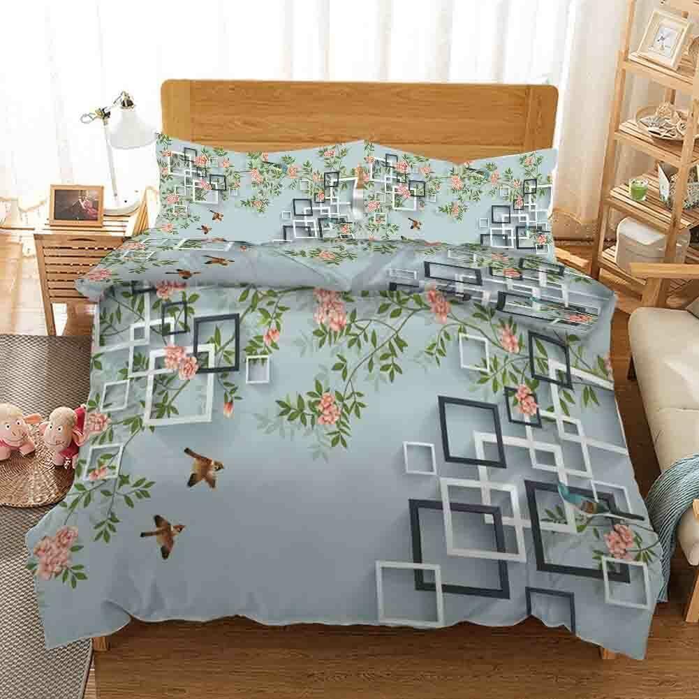 A Misty grau Grid 3D Printing Duvet Quilt Doona Covers Pillow Case Bedding Sets