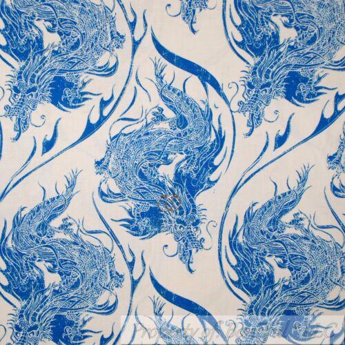 BonEful Fabric FQ Cotton Quilt VTG Blue White Asian Dragon Tattoo Tatsu Chinese