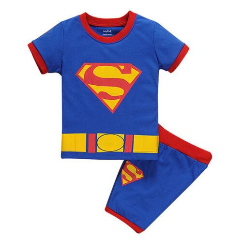 Toddler Kid Boys Girls Cartoon Short Sleeve T-shirt Shorts Sleepwear Pyjamas Set