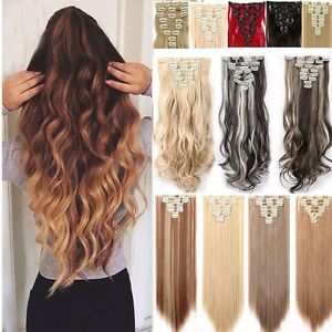 8-PCS-Braun-Glatt-Haarverlaengerung-Clip-In-Extensions-Natuerlich-lang-Haar-pt220