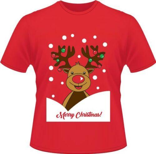 Ladies// Men Christmas Reindeer Printed T-Shirt Christmas Printed T-Shirts