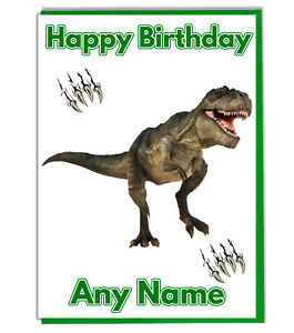 Image Is Loading Personalised T Rex Dinosaur Birthday Card Daughter Son