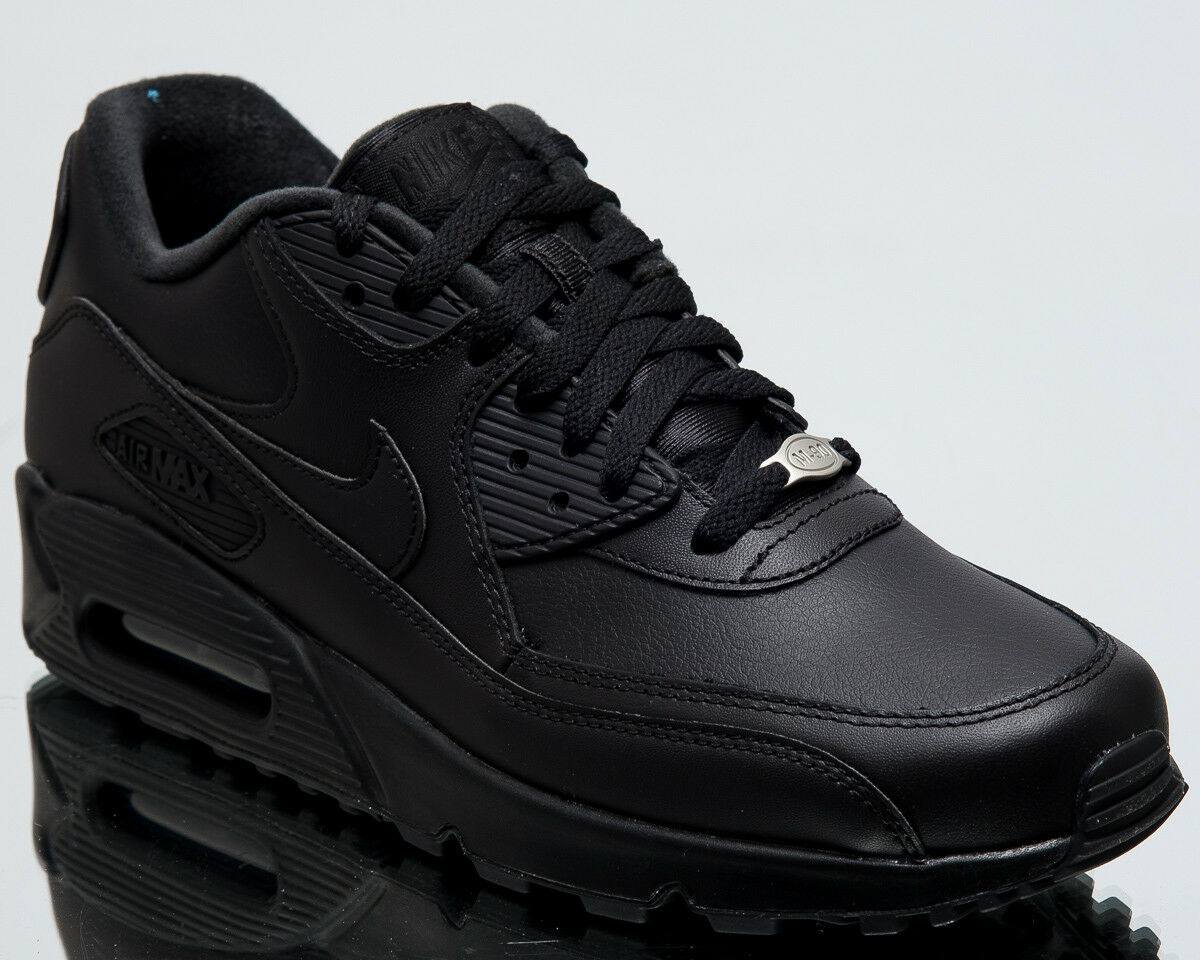 Nike Air Max 90 Leather Men New shoes Mens Casual Black Sneakers 302519-001