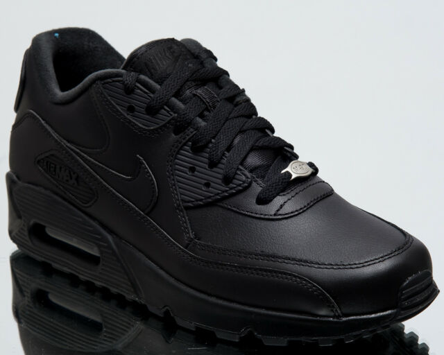 2fde29c7b0c Nike Air Max 90 Leather Men New Shoes Mens Casual Black Sneakers 302519-001