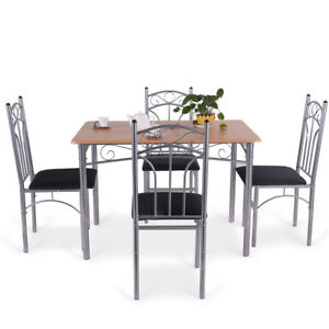 Details About 5 Pcs Wood Steel Kitchen Dining Table High Back Chair Set Padded Seat Furniture