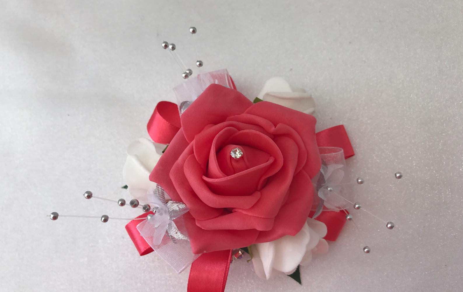 Nozze Fiori Avorio FARFALLA rosa Coral Bouquet, Sposa, Damigella, FARFALLA Avorio GIRL Bacchetta f7ac4d
