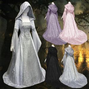 Medieval-Women-Hooded-Floor-Length-Dress-Wedding-Party-Elven-Cosplay-Costume