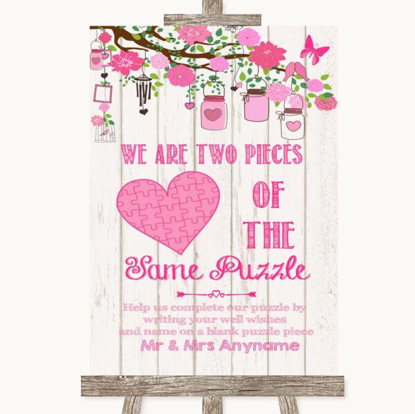 2019 Ultimo Disegno Pink Rustico Di Legno Pezzo Puzzle Libro Degli Ospiti Matrimonio Personalizzati Segno