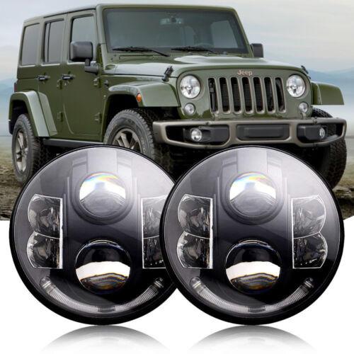 "For Jeep Wrangler JK TJ LJ 1997-2018 Pair 7/"" Inch 80W Round LED Headlight /& Halo"