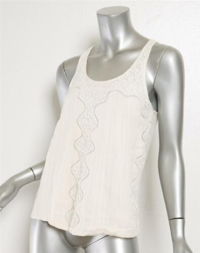 CHLOE Womens Ivory Pleated Floral Lace Sleeveless