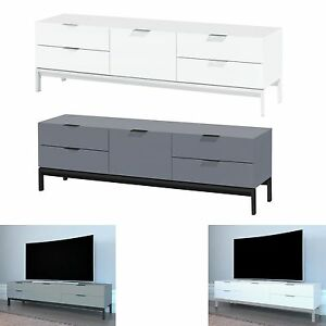 White Grey TV Unit 4 Drawer 1 Door Cabinet Unit TV Stand Upto 42 ...