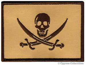 PIRATE-FLAG-iron-on-PATCH-JOLLY-ROGER-Skull-Swords-NEW-TAN-SUBDUED-MILITARY