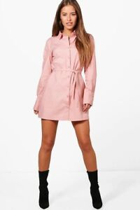 BOOHOO Petite Lilian Tie Waist Shirt Dress - Light Rose Pink - Size ... daa9d1923