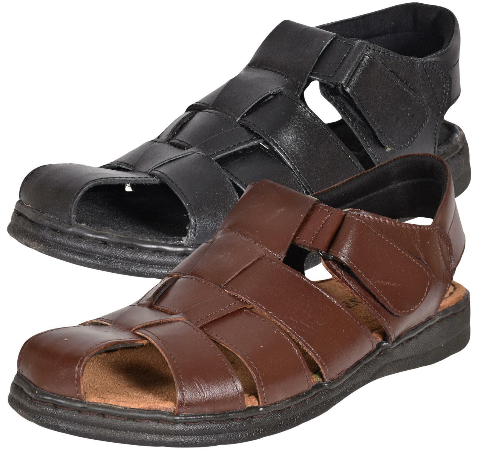 MOZAX Mens Sports Sandal Leather Close toe Casual Hiking Walk Trail UK Size 7-12