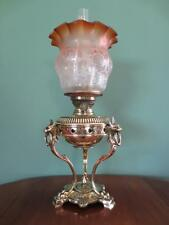 ORIGINAL ANTIQUE VICTORIAN(C1870)HINKS OIL LAMP- FINE ETCHED AMBER TULIP SHADE