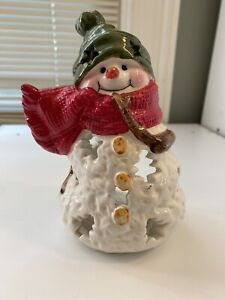 Hallmark Snowman Tea Light Candle Holder 7 Inches Tall- Preowned