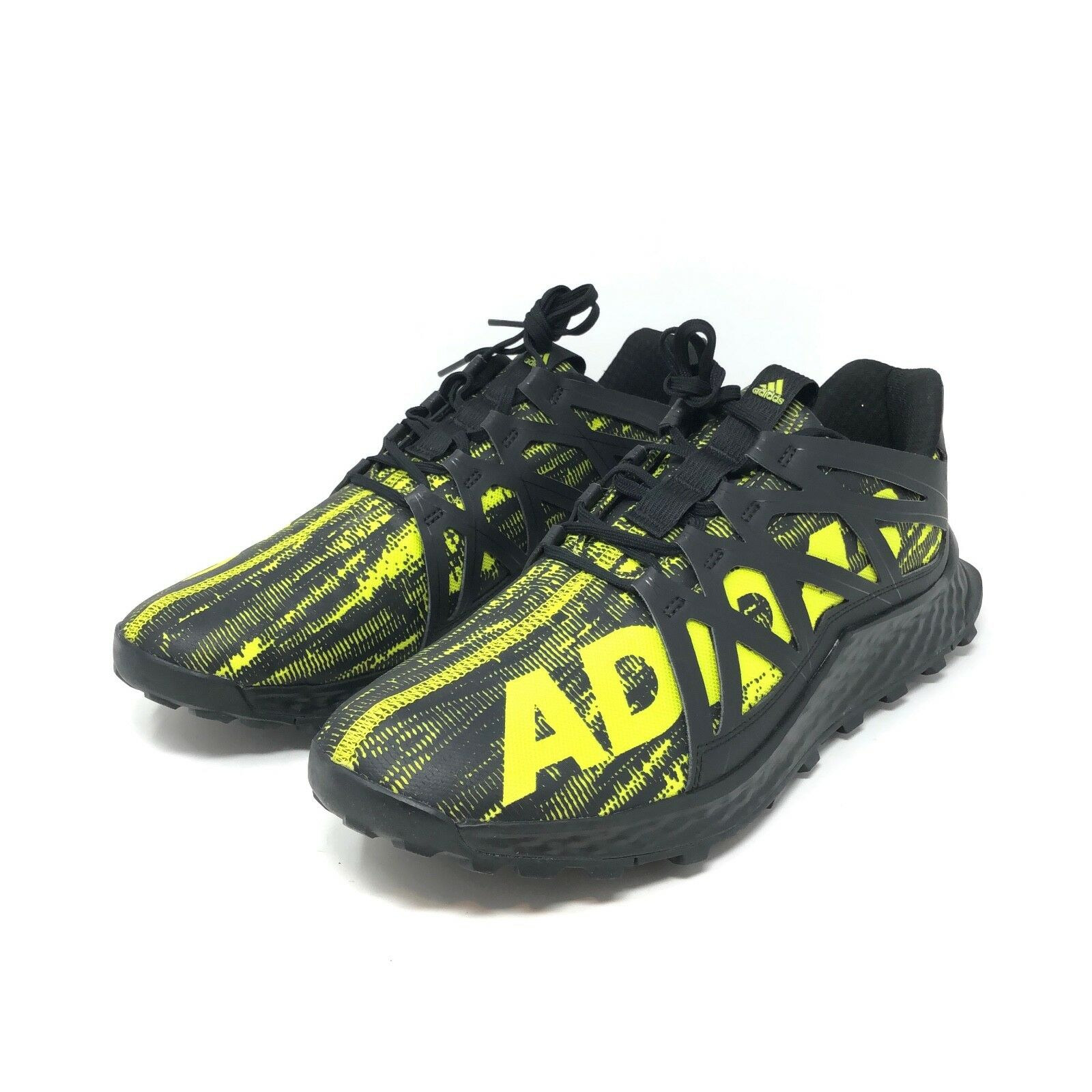 Adidas Mens Vigor Bounce Trail Runner shoes Black Yellow Size 11.5