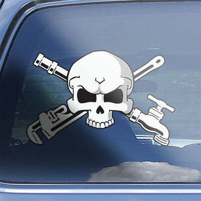 Plumber crossbones decal plumbers plumbing pipe tradesman skull badge sticker