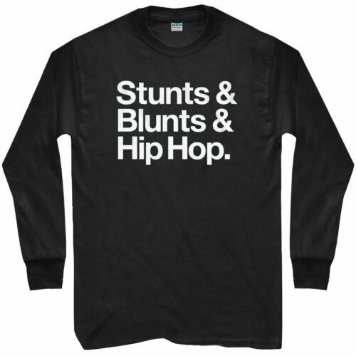 Stunts Blunts Hip Hop Long Sleeve T-shirt Rap Lyrics Weed Men // Youth LS