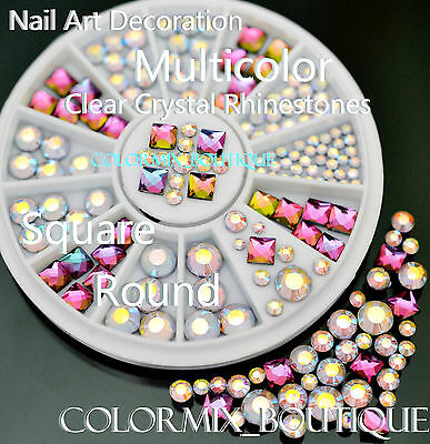 #R29 Nail Art Decoration Square Round Multicolor Clear Crystal Glass Rhinestones