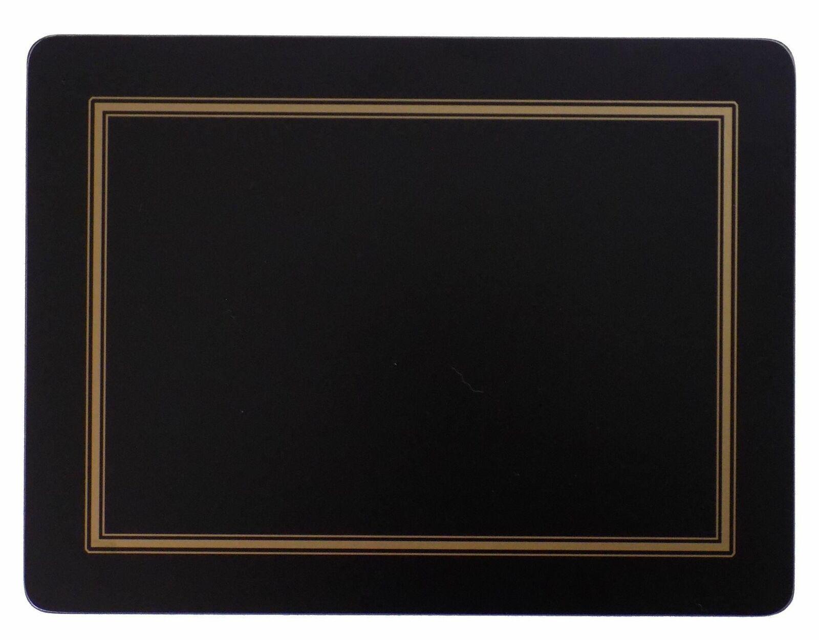 Juego de 4 Gold schwarz Bordeado Clásico Dorso Corcho Grande Manteles Individuales