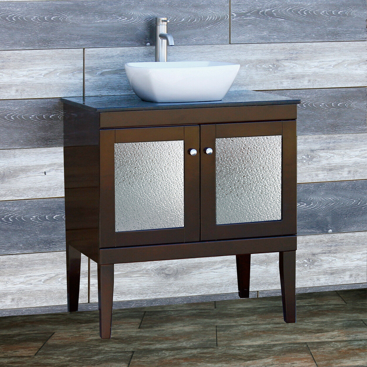 30 Bathroom Vanity 30 Inch Cabinet Black Granite Stone Top Vessel Sink Fd30 2 For Sale Online