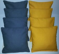 SET OF 8 NAVY BLUE & YELLOW CORNHOLE BEAN BAGS FREE SHIPPING!