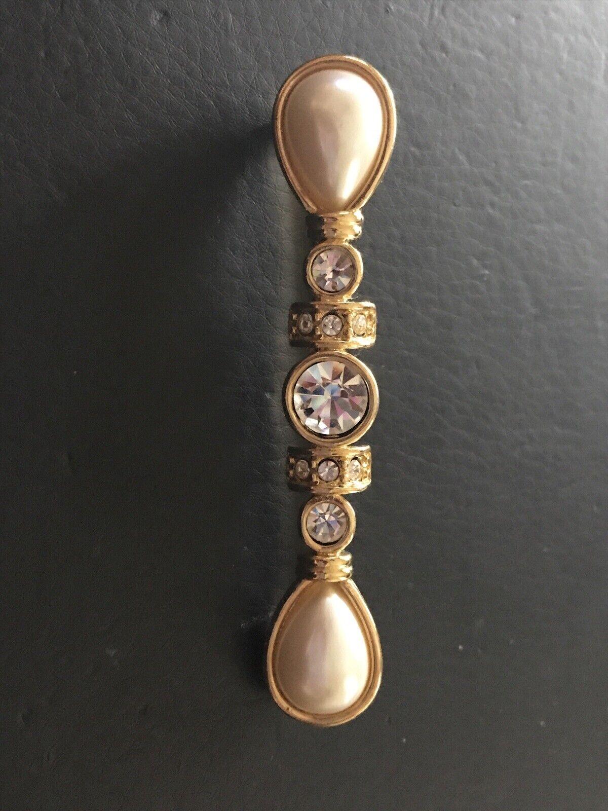 Monet Long Crystal Rhinestone, Pear Pearl & Gold … - image 2