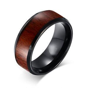 Tungsten Carbide Dark Wood Inlay Mens Wedding Ring New UK R002 eBay