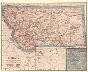 Details about 1906 Antique Montana State Map Original Vintage Map of  Montana Gallery Wall 6861