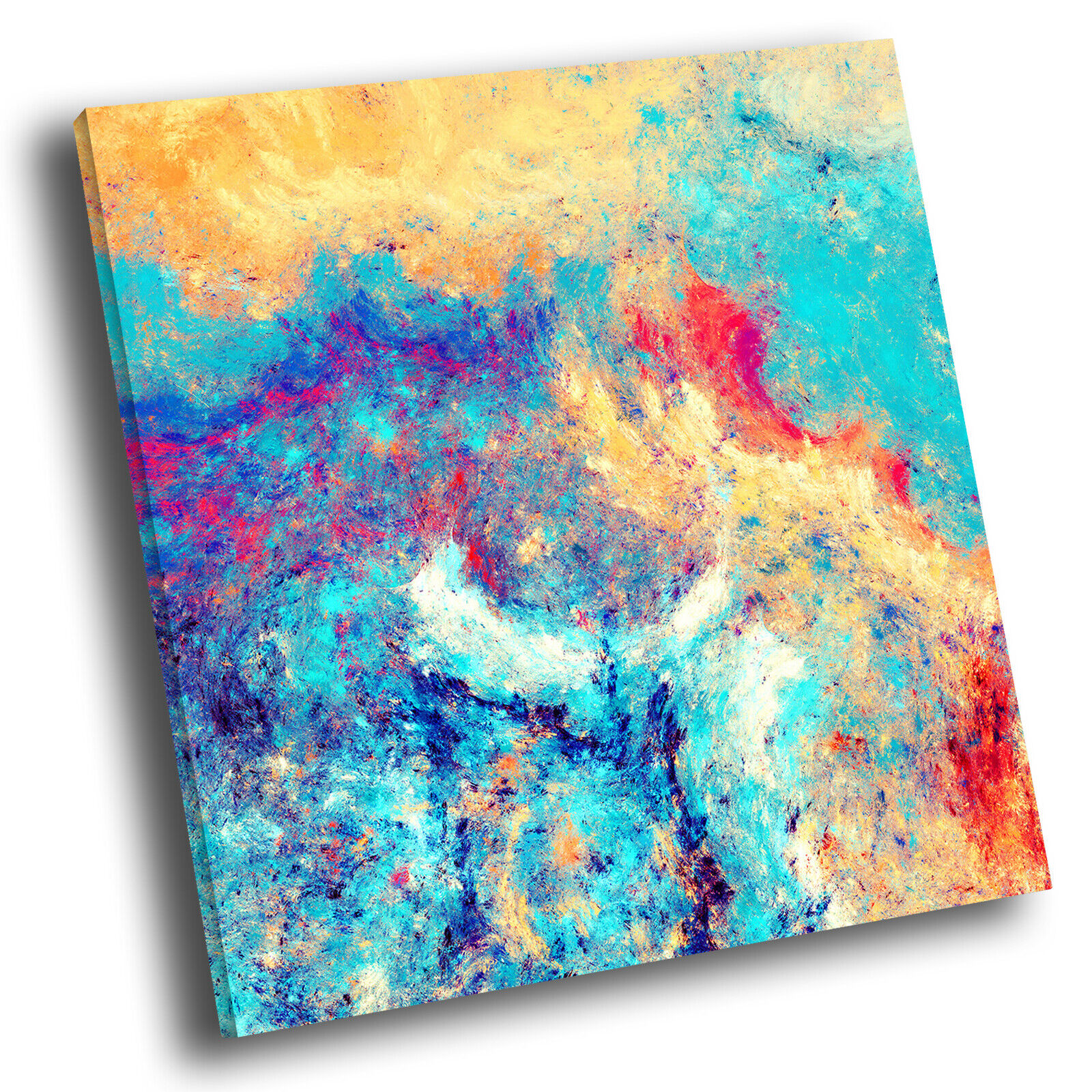 Colourful Blau Gelb Square Abstract Photo Canvas Wall Art Large Picture Prints
