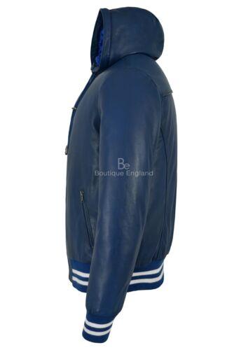 Baseball con Napa pelle Slim Giacca vera Fit Elegante cappuccio uomo da in 100 4486 blu AfXxqwYC
