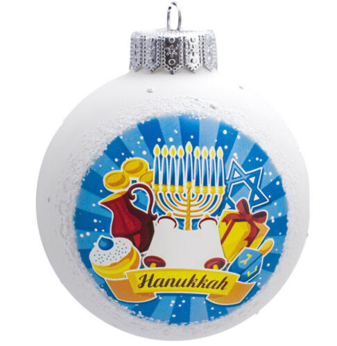 "Chanukah Tree Decor Menorah Star of David 4/"" White Hanukkah Ball Glass Ornament"
