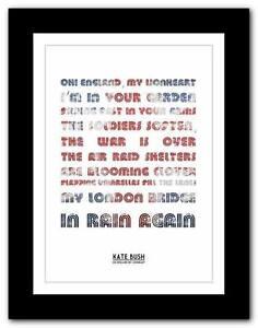 KATE-BUSH-Oh-England-song-lyrics-typography-poster-art-print-A1-A2-A3-or-A4