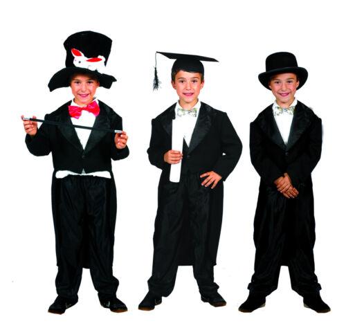 116-152 Bambini Costume Mago Show Carnevale Show Frack Bambini Costume Nero Mis