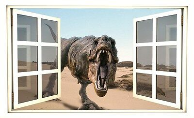 """24"""" Window Scape Instant View T-Rex Dinosaur 1 Wall Sticker Decal Graphic Mural"""