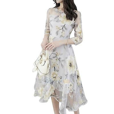 Elegant Women Organza Floral O-Neck Sexy  Long Party Dress #3YE