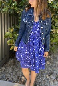 REVIEW-Fit-amp-Flare-Blue-amp-White-Floral-A-Line-Dress-Size-6