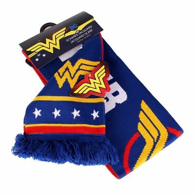 OFFICIAL DC COMICS - WONDER WOMAN TEXT & SYMBOL BLUE AND RED SCARF (NEW)