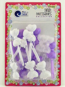 08976 20 PCS. CLEAR TARA GIRLS  SELF HINGE BOW HAIR BARRETTES
