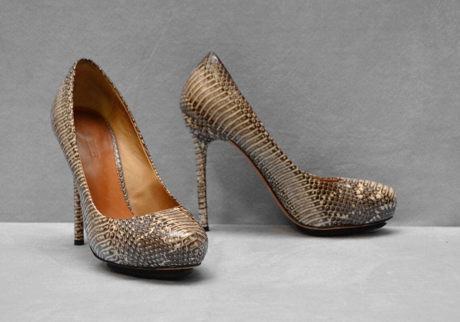 C0 L. A. M. B. Python Embossed Leather Hidden Platform Pump Heels chaussures Sz 6.5 M