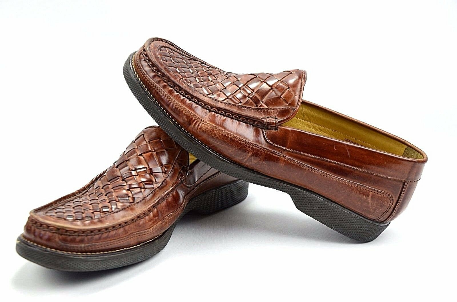 Florsheim Marshall Brown Woven Leather Moc Toe Loafers shoes Men's 9.5 D 18126