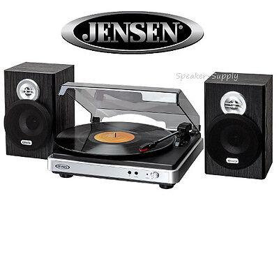 Jensen JTA-325 3-Speed Turntable Stereo w/ Speakers Record Player MP3 Converter
