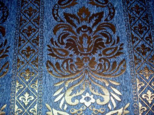 Polsterstoff Möbelstoff Stoff Barock Antik Neu Jaquard Chenille Webstoff Blau