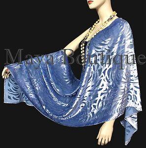 Maya Matazaro Serenity Blue Camellia Shawl Wrap Scarf Burnout Velvet Elegant!