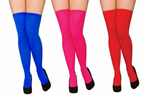 Coloured Knee High Socks Thigh Highs Ladies 80s Fancy Dress Accessory