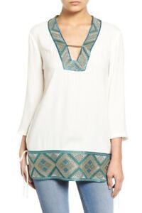 Ella-Moss-Hani-Peasant-Top-Sz-M-Long-Slv-Embroidered-Trim-Tunic-Ivory-198-B97