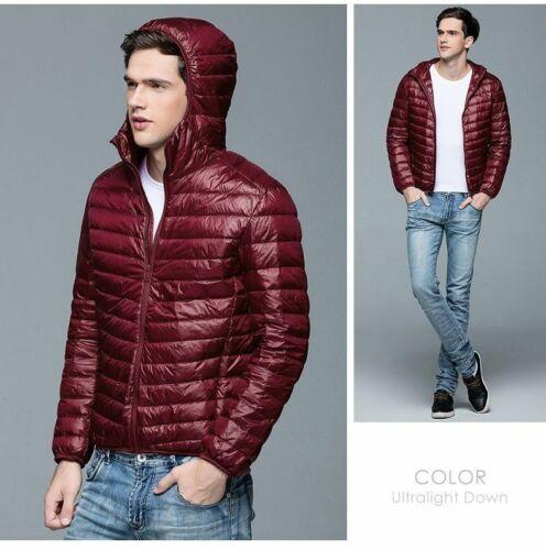 Men/'s Ultra Light Down Jackets Multi Colors Winter Hooded Coats Thin Slim Parkas