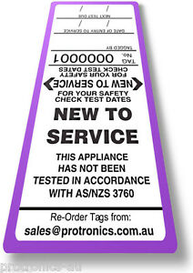 NEW TO SERVICE- TAG LABELS, 50 TAGS, Test & Tag for