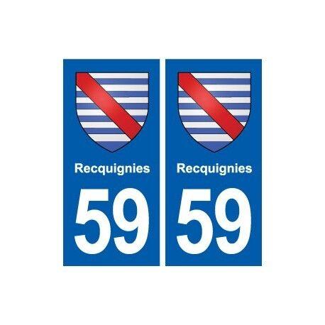 59 Recquignies blason autocollant plaque stickers ville arrondis